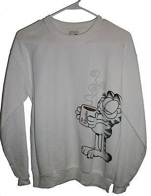 Adult M White Sweatshirt Featuring Garfield With Hot Chocolate