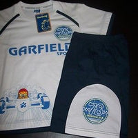 Garfield 2 Piece White and Navy Blue Short Set Racing - We Got Character