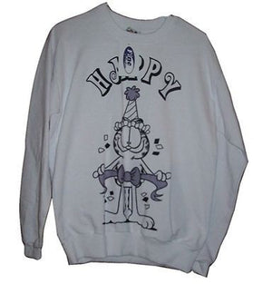 Adult M White Sweatshirt Featuring Garfield N Happy - We Got Character