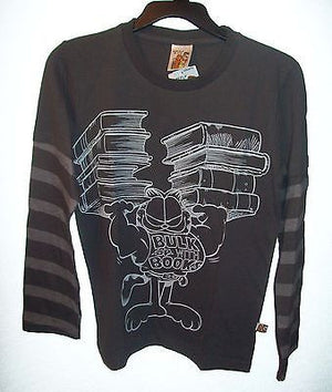 Garfield Bulk Up On Books Long sleeve Shirt Youth - We Got Character