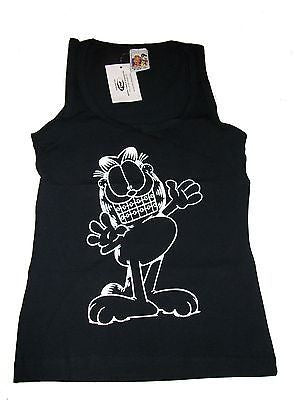 Black Garfield Tank Top With Braces Size M