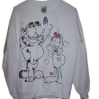Adult M White Sweatshirt Featuring Garfield With Arlene - Simply Garfield
