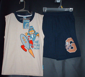 Garfield 2 Piece Short Set Size 6 Rocket Theme - Simply Garfield