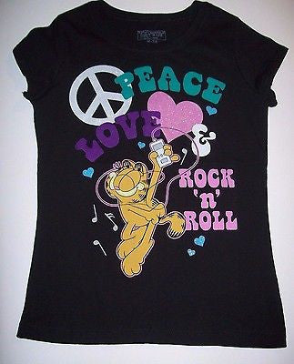 Garfield Black Peace T- Shirt - Simply Garfield