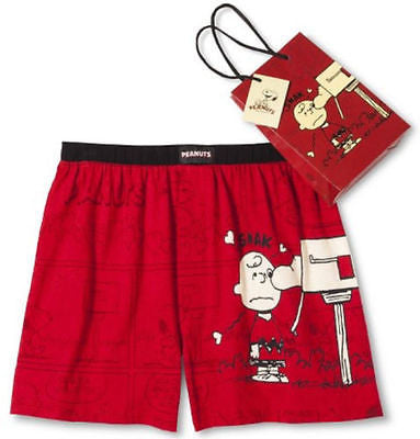 Mens Red Peanuts Snoopy Boxers Shorts Valentines