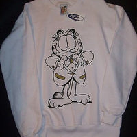 Adult M White Sweatshirt Featuring Garfield In A Bow Tie -  Simply Garfield