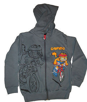 Garfield Gray Sweat Jacket Bicycling Youth Size 6-We Got Character