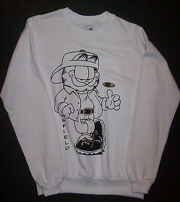 Adult M White Sweatshirt Featuring Garfield Flipping A Coin