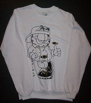 Adult M White Sweatshirt Featuring Garfield Flipping A Coin - Simply Garfield