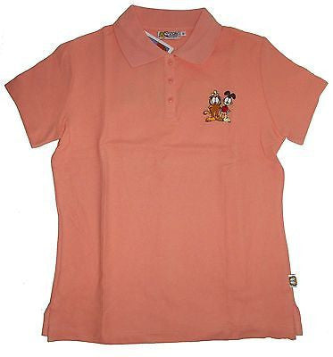 Garfield Peach Polo Shirt Size L - Simply Garfield