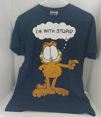 Garfield Navy Blue T-Shirt I'm with Stupid-We Got Character