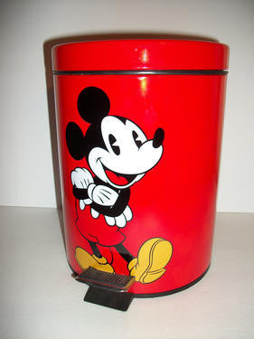 Mickey Mouse Red Metal Step on Trash Can Disney - We Got Character