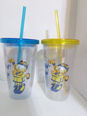 Lot of 2 Garfield Clear Plastic Cups with Straws - We Got Character