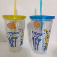 Lot of 2 Garfield Clear Plastic Cups with Straws