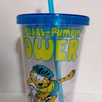 Clear Garfield Plastic Glass with Lid & Straw-We Got Character