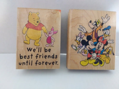 Lot of 2 Disney Wooden Rubber Stampers - We Got Character