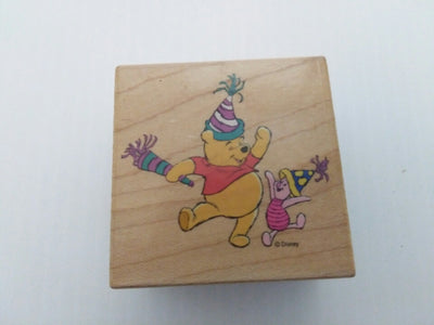 Pooh's Party Wooden Rubber Stamper - We Got Character