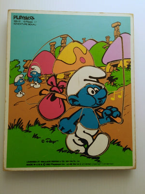 Playskool 1982 Adventure Bound Smurf 13 Piece Wood Puzzle-We Got Character