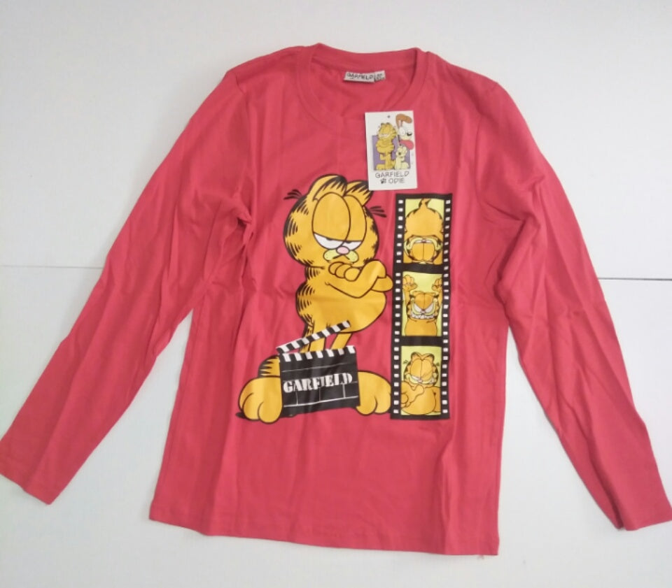 Red Long Sleeve Youth Garfield Shirt-We Got Character