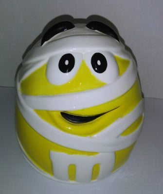 M&M's Yellow Mummy Ceramic Halloween Candy Cookie Jar - We Got Character
