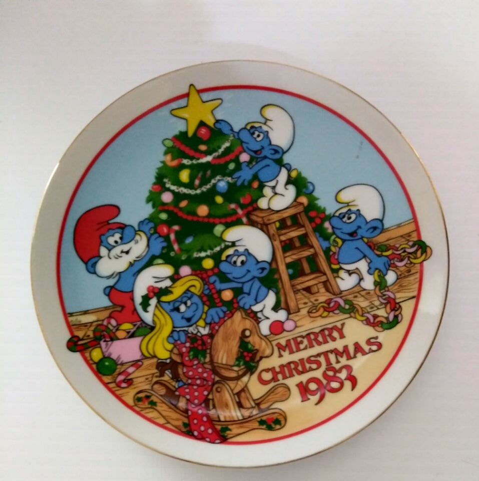 Smurfs 1983 Christmas Plate-We Got Character