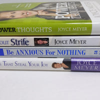 4 Joyce Meyer Books Power Thoughts, Be Anxious For Nothing, Life without Strife - We Got Character