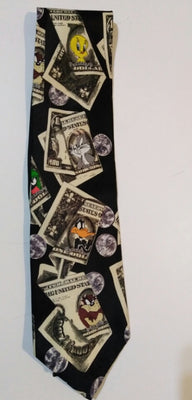 Looney Tunes Mens Necktie Taz Bugs Tweety Daffy Money Novelty Tie-We Got Character