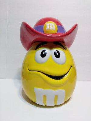 Yellow M&M's Cookie Jar with Cowboy Hat-We Got Character