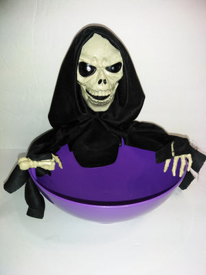Animated Snapping Halloween Candy Dish Grim Reaper Skeleton - We Got Character