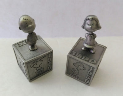 2 Hallmark Peanuts Gallery Pewter Figurines-Five Decades of Lucy & Charlie Brown-We Got Character