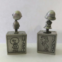 2 Hallmark Peanuts Gallery Pewter Figurines-Five Decades of Lucy & Charlie Brown