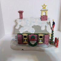 Danbury Mint Garfield Christmas Village The School House-We Got Character