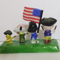 Flambro Snoopy Peanuts  Patriot Parade Porcelain Figure Scene-We Got Character