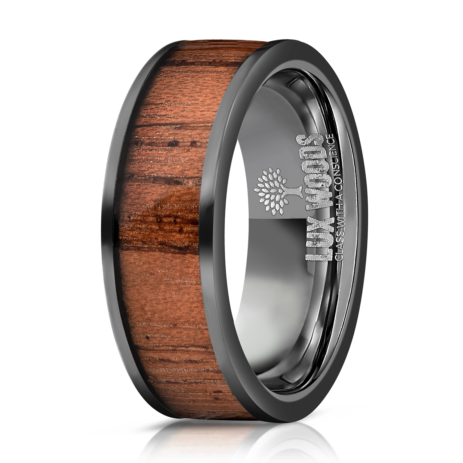 Black Tungsten Carbide- Sapele Wood Inlay