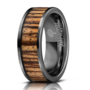 Black Tungsten Carbide- Zebrawood Inlay