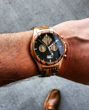 The Dawson Wood Watch -Rose Gold Stainless x Zebrawood