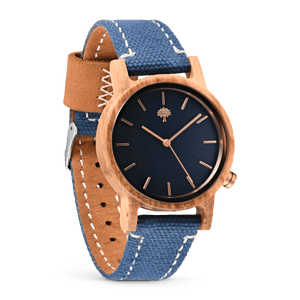 The Gaston Wood Watch- Womens Model- Olive Wood- Blue Canvas - Wood watches
