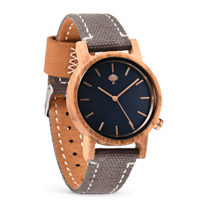 The Gaston Wood Watch- Womens Model- Olive Wood- Grey Canvas - Wood watches