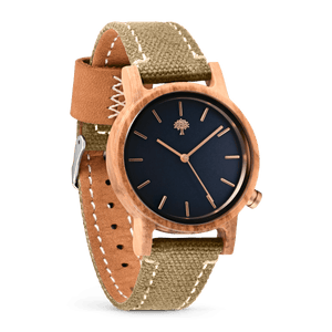 The Gaston Wood Watch- Womens Model- Olive Wood- Green Canvas - Wood watches