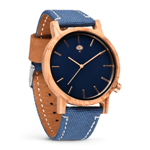 The Gaston Wood Watch- Olive wood- Blue Canvas - Wood watches