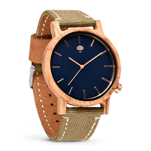 The Gaston Wood Watch- Olive wood- Green Canvas - Wood watches
