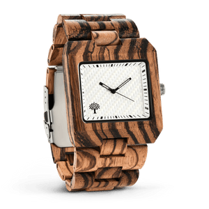 The Glenwood Wood Watch - Zebrawood- White