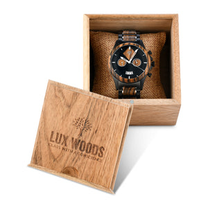 The Dawson Wood Watch -Black Stainless x Gold Sandalwood