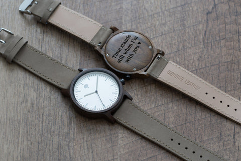 The Gaston Wood Watch- Chanate wood- Silver- Concrete Leather