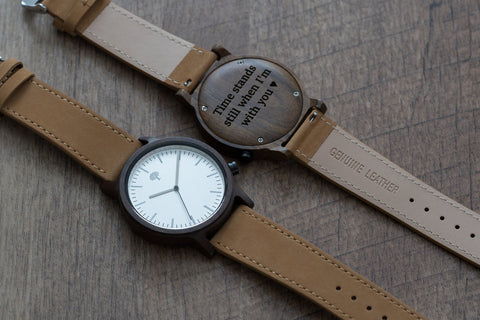 The Gaston Wood Watch- Chanate wood- Silver- Brown Leather