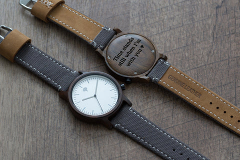 The Gaston Wood Watch- Chanate wood- Silver- Grey Canvas