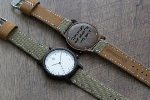 The Gaston Wood Watch- Chanate wood- Silver- Green Canvas