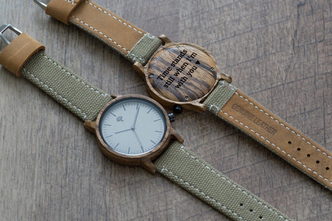 The Gaston Wood Watch- Zebra wood- Green Canvas