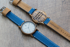 The Gaston Wood Watch- Zebra wood- Blue Canvas - Wood watches