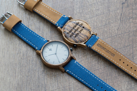 The Gaston Wood Watch- Zebra wood- Blue Canvas